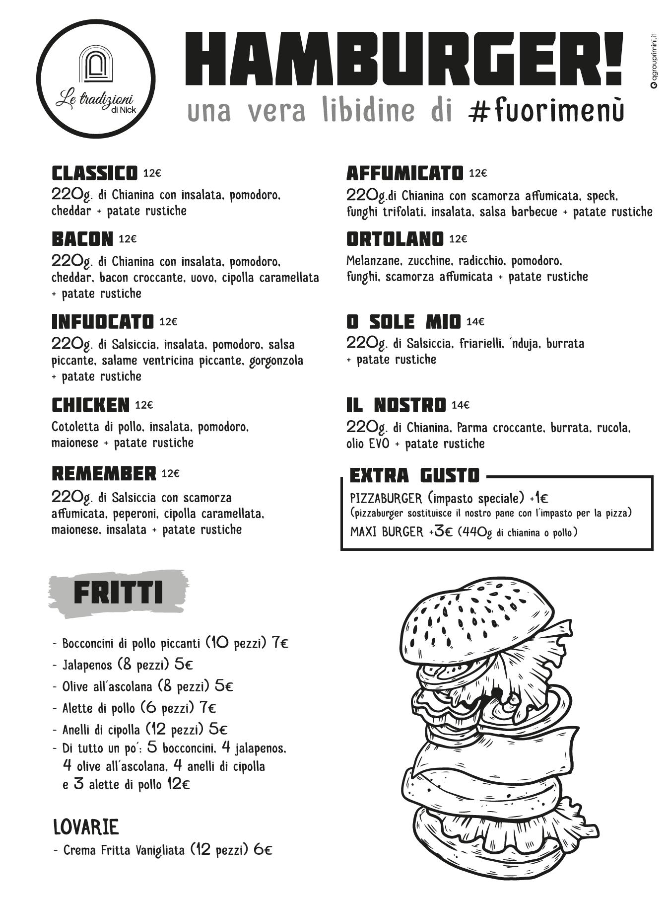 le tradizioni di nick-menu hamburger